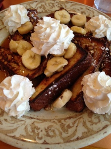 Sweet Bread French Toast with Bananas Foster Topping
